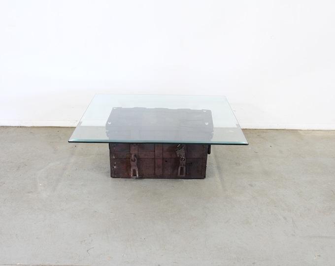 Antique Iron Strongbox/Treasure Chest/Designer Coffee Table