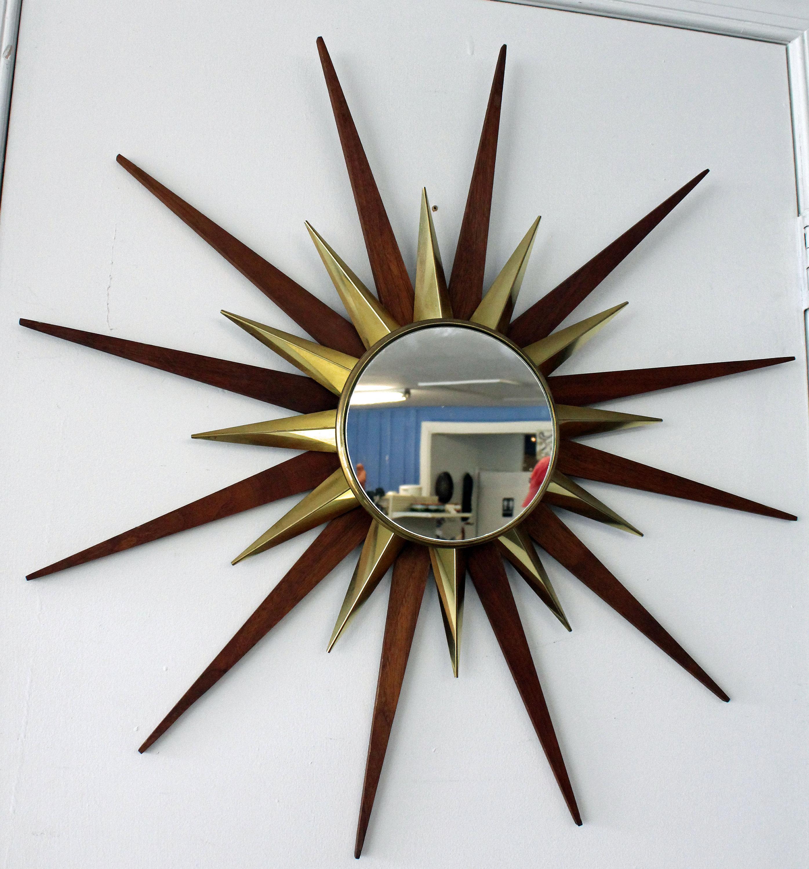 Sunburst Mirror Mid-Century Danish Modern Walnut & Brass ...