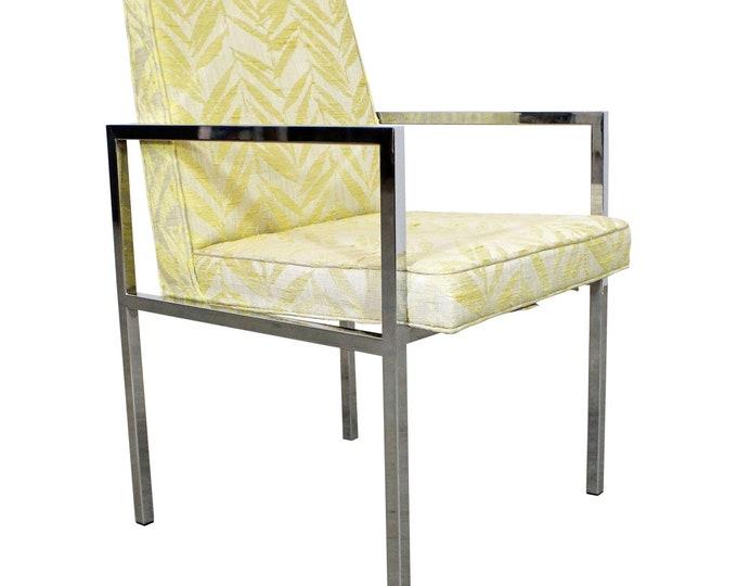 Mid-Century Modern Vintage Milo Baughman Lounge Chair Chrome Accent Arm Chair/Dining Chair