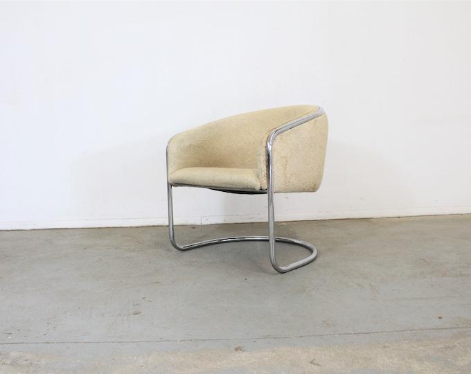 Mid-Century Modern Tubular Chrome Accent Chair by Thonet Industries
