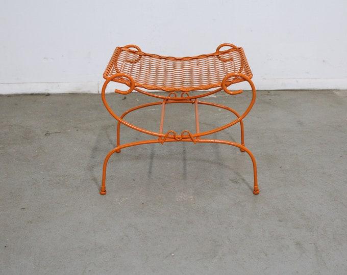 Vintage Mid-Century Modern Atomic Orange Metal  Stool