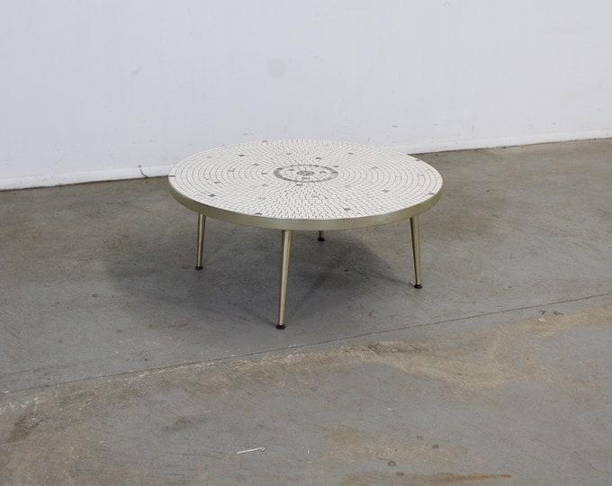 Mid Century Modern Atomic Round Tile Top Coffee Table