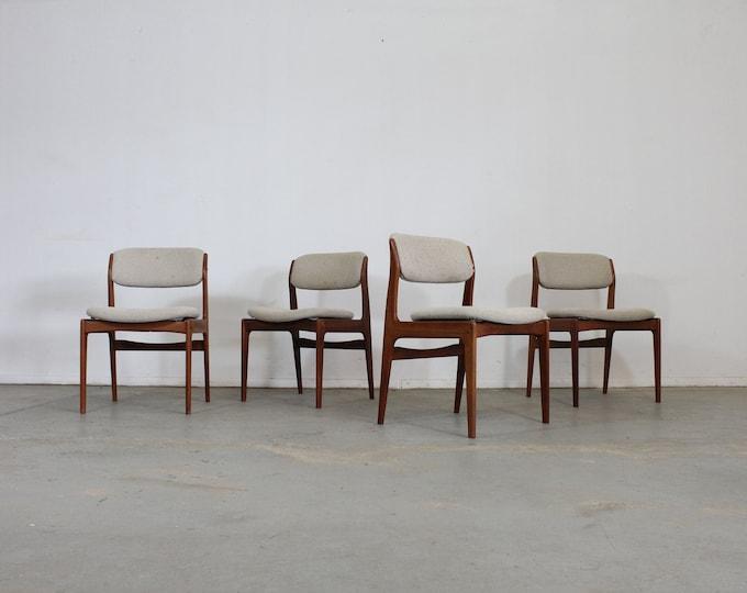 Set of 4 Mid-Century Modern Teak Side Dining Chairs