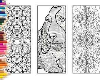 Bookmarks, Coloring page adults, printable bookmarks hand made illustration, color dog bookmark, diy bookmark