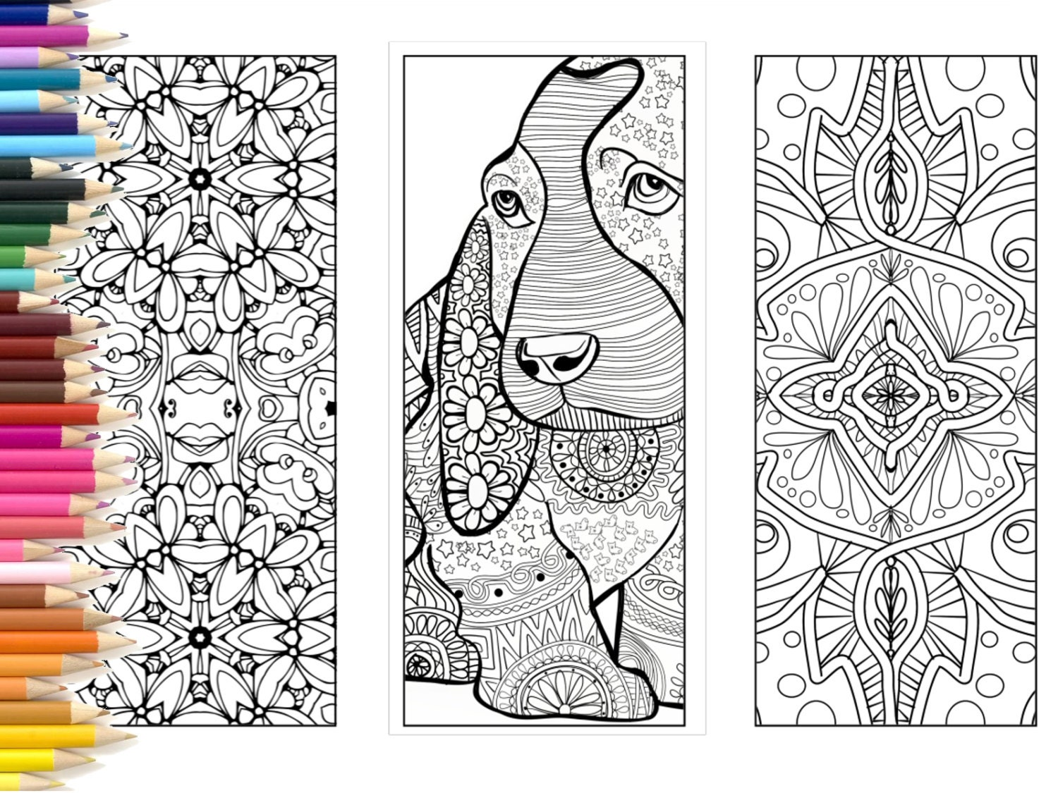 Bookmarks Coloring page adults printable bookmarks hand made | Etsy