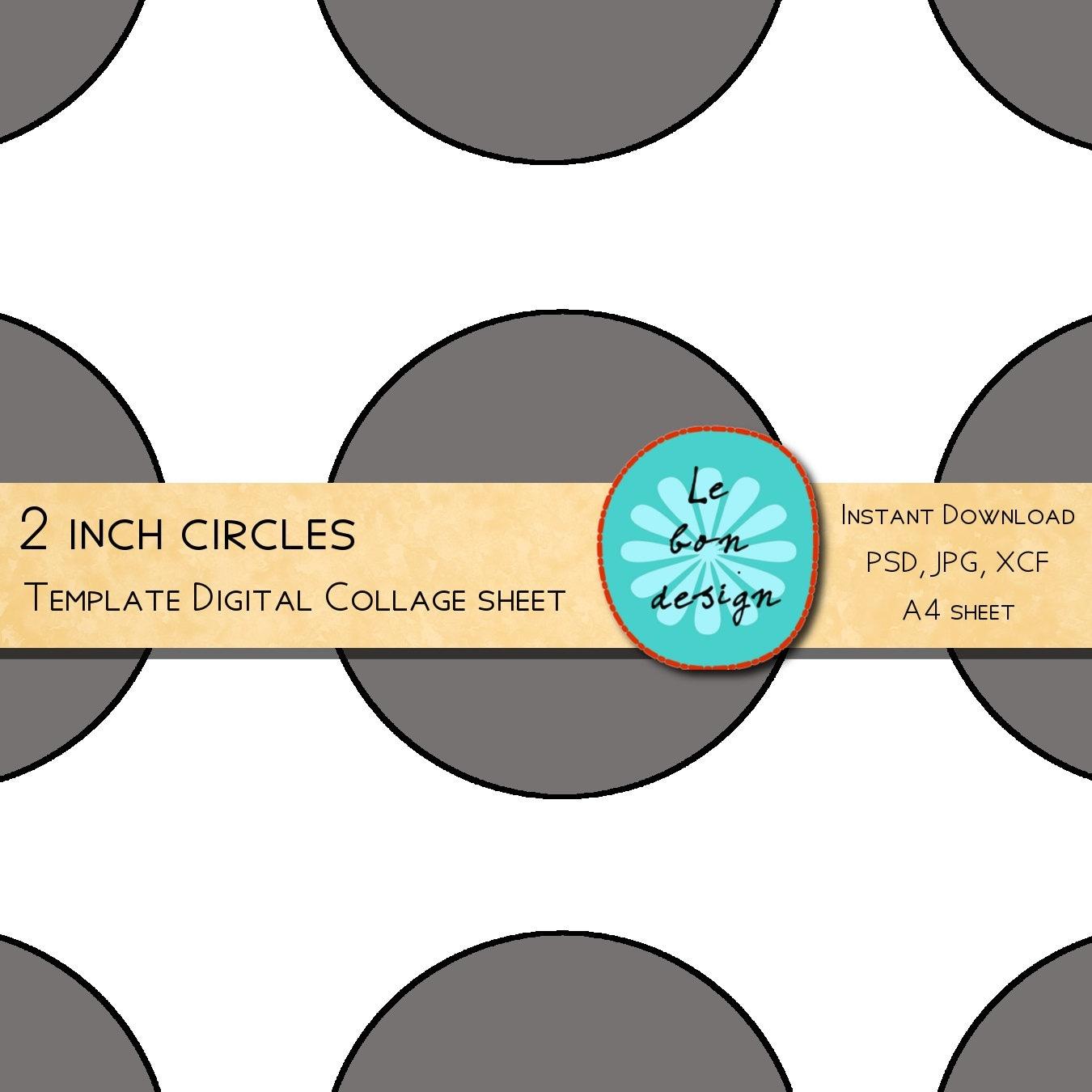 Cupcake Toppers 2 Inch Circle Template 12 Circles Diy Etsy
