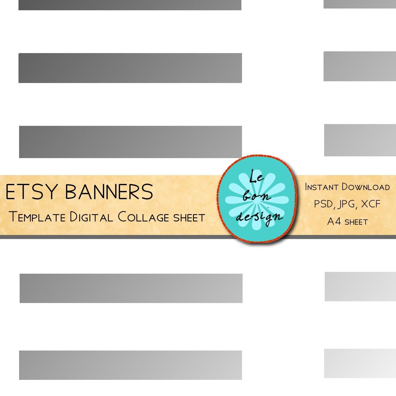 Etsy Banner Template Diy Digital Collage Sheet Jpg Psd Gimp Etsy