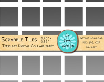 Instant download- DIY Scrabble tile collage sheet template, .75x.83 inch, 8,5 x 11