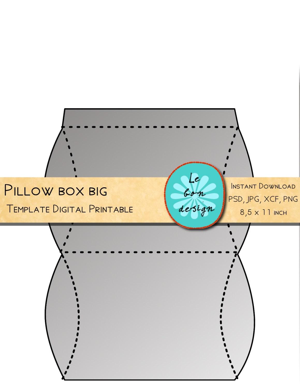 Pillow Box Template Printable Diy Folding Sheet Jpg Psd Etsy