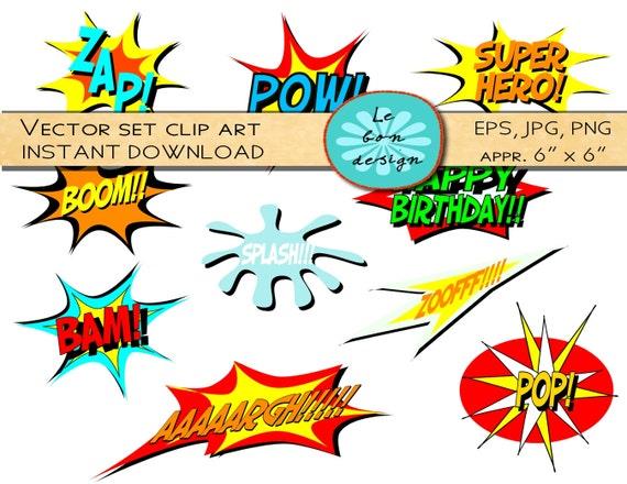 Testo Del Libro Di Fumetti Supereroe Di Vettore Di Clip Etsy