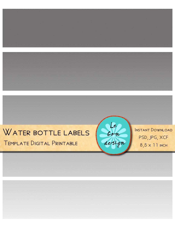 Botella de agua etiqueta plantilla Diy para fiesta collage | Etsy
