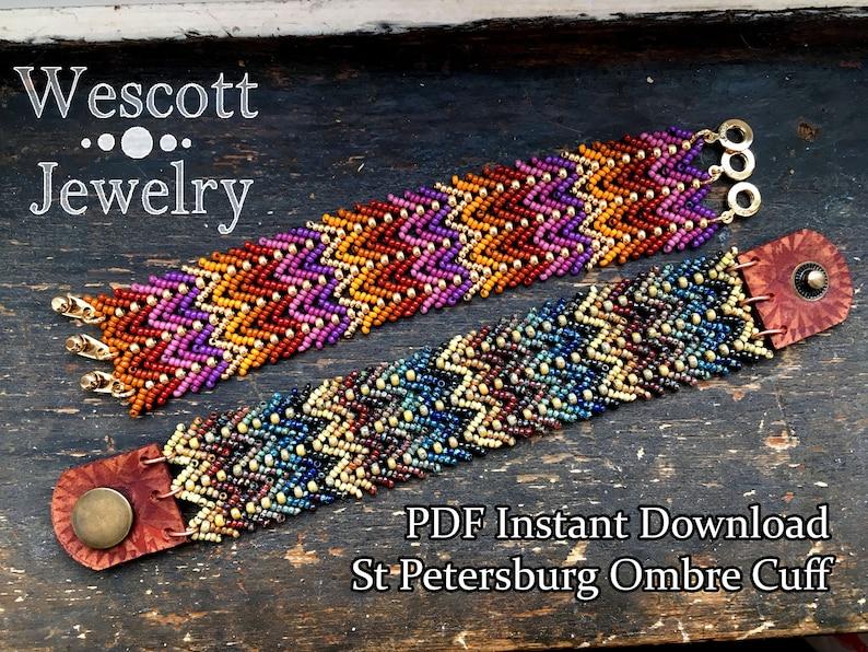 Beadweaving Pattern for St Petersburg Ombre Cuff Bracelet  image 0