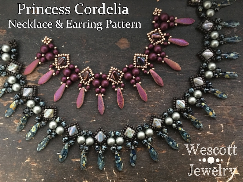 Beadweaving Pattern for Princess Cordelia Necklace and Earring image 0