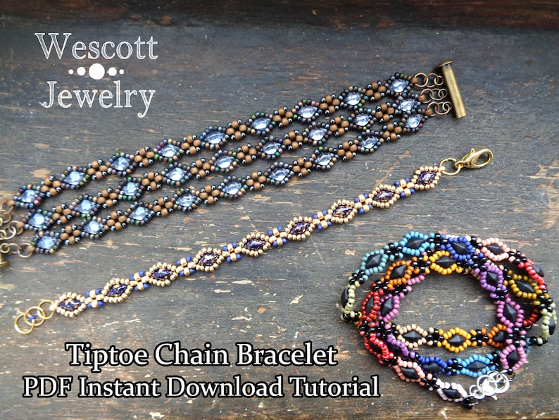 Beadweaving Pattern for Tiptoe Chain Bracelet with GemDuo or image 0
