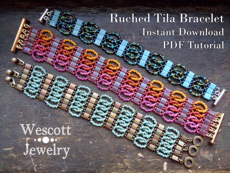 Beadweaving Pattern for Ruched Tila Bracelet Cuff with Two image 0