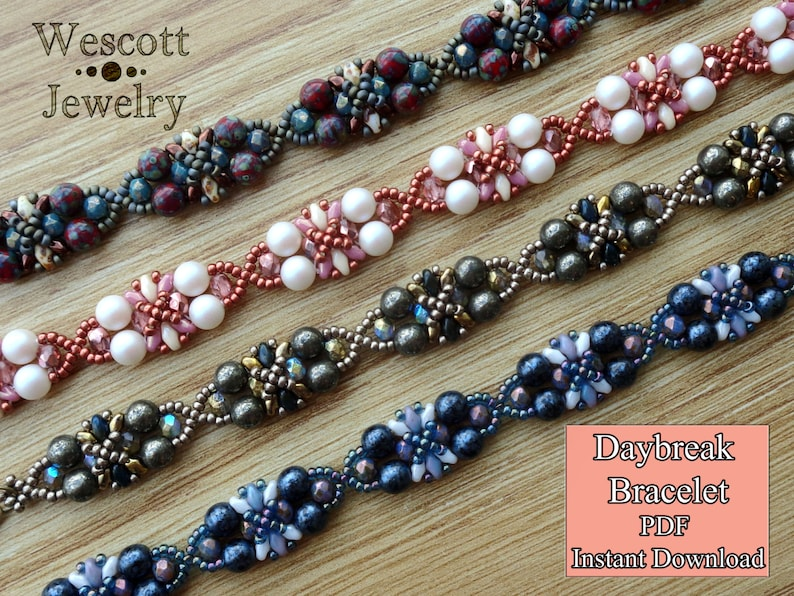Beadweaving Pattern for Daybreak Bracelet with MiniDuos and image 0