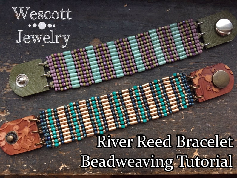 Beadweaving Pattern for River Reed Herringbone Beaded Cuff image 0