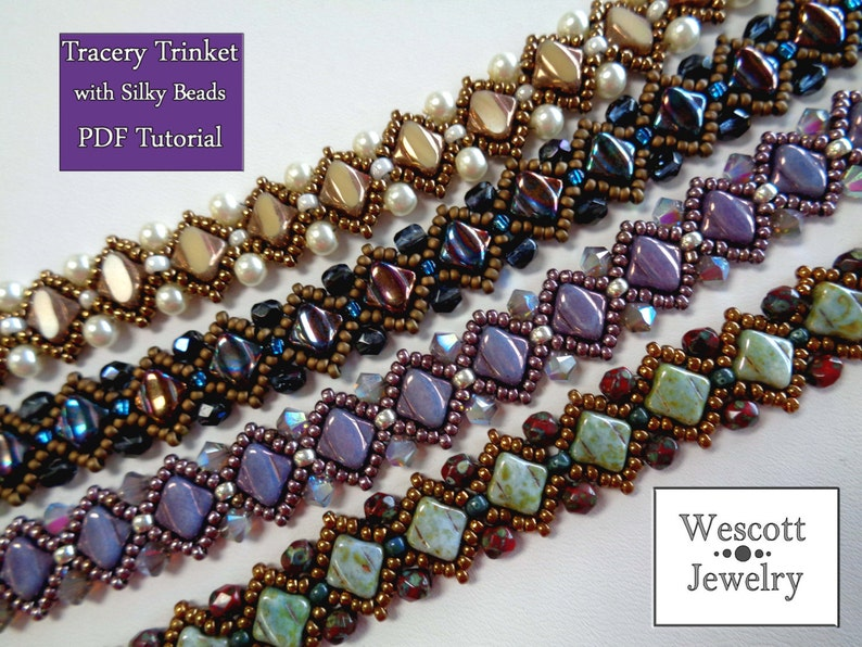Beadweaving Pattern for Tracery Trinket with Silky Beads image 0