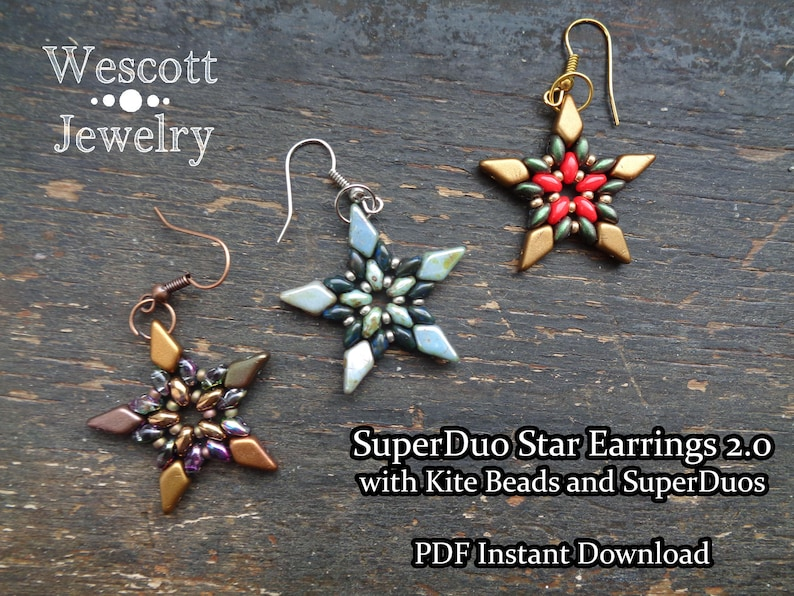 Beadweaving Pattern for SuperDuo Star Earrings 2.0 with Kite image 0