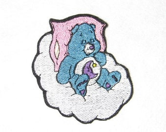 Care Bear Bedtime Bear Teddy Bear Iron on No Sew Embroidered Patch Applique