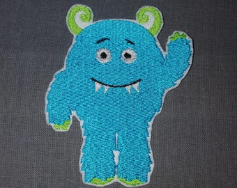 Blue Fuzzy Monster Iron on No Sew Embroidered Patch Applique