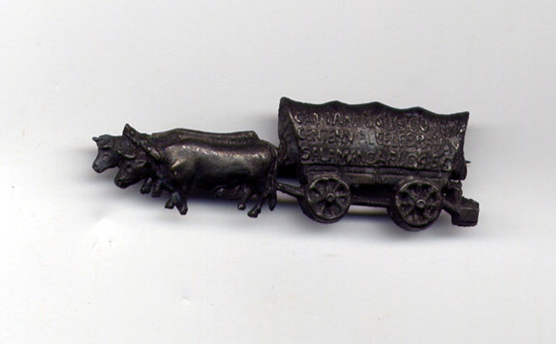 Antique Vintage 1908 Cast Iron Oxen Pulling Covered Wagon Centennial Cattaraugus County Brooch with Open C-clasp