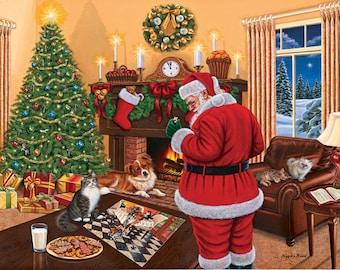 Christmas Puzzle Santa Solves The Puzzle 1000 Piece Jigsaw Puzzle by SunsOut 20 x 27