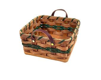 Amish Napkin Basket Handmade Basket With Leather Loop Handles