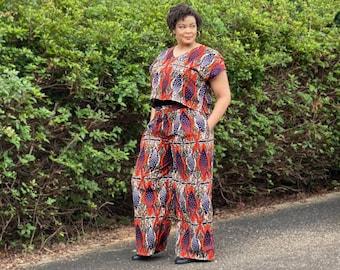 Amara Pants/ Wide leg/ African Print Pants / Ankara Pants/ Pockets/ V neck/ Tall