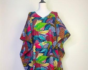 Dani Kaftan Dress/ African Print/ Ankara/ Kimono/ Beach/ Resort/ V Neck/ One size