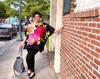 Dani Kaftan Blouse/ Dress/ African Print/ Ankara/ Tunic/ Kimono/ Black/ Flower