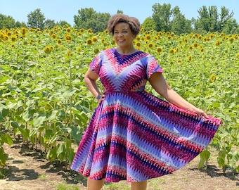Gwendolyn Dress/ African Print Cotton/ Ankara/ Purple/ Pockets/ Circle Skirt
