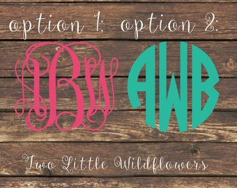 Vine Script Monogram Decal, Car Decal, Monogram, Initials, Vinyl