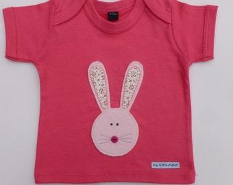 Bunny t-shirt for  little girls size 3-6mths, 6-12mths, 12-18mths