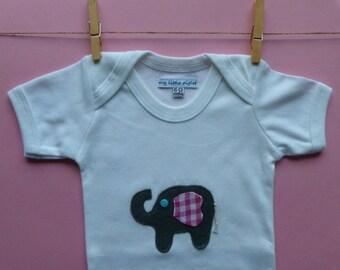 Elephant applique baby girl onesie/ bodysuit   size  6-12 mths