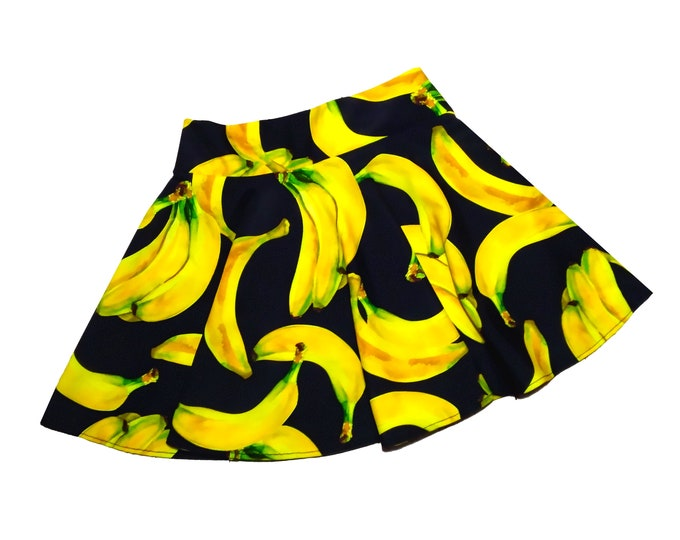Featured listing image: Girls banana skort dancewear, gymnastic, cheer skort, twirly skirt with attached shorts, skate skirt, optional scrunchie