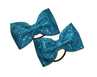 Pigtail bows, tailless cheer bow blue sparkle piggy bows