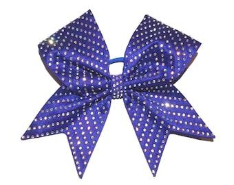 Royal blue cheer bow tick tock, all star cheer bow, fabric bling hair bow satin bow