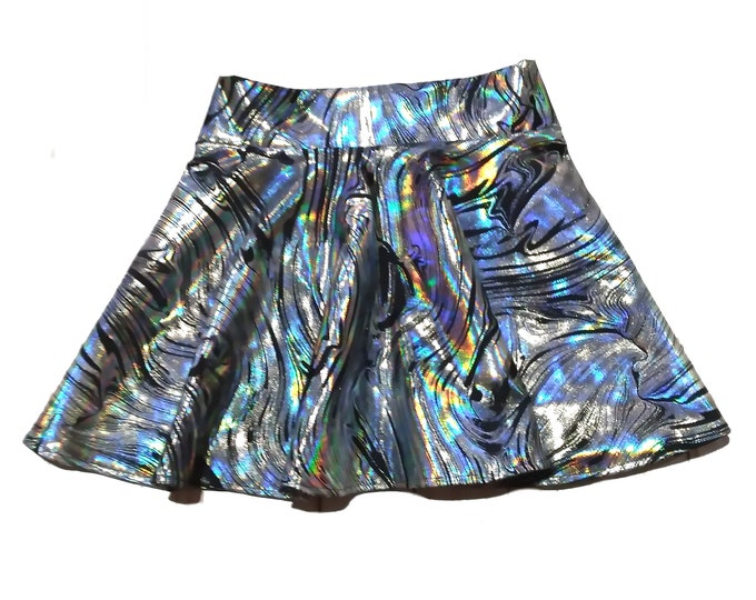 Featured listing image: Girls metallic silver black skort dancewear, gymnastic, cheer skort, twirly skirt with attached shorts, skate skirt, optional scrunchie
