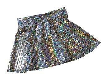 Girls metallic silver black skort dancewear, gymnastic, cheer skort, twirly skirt with attached shorts, skate skirt, optional scrunchie