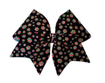Christmas holiday candy cheer bow, all star cheer bow, tick-tock rhinestone hair bow
