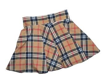 Girls tan plaid skort dancewear, gymnastic, cheer skort, twirly skirt with attached shorts, skate skirt, optional scrunchie