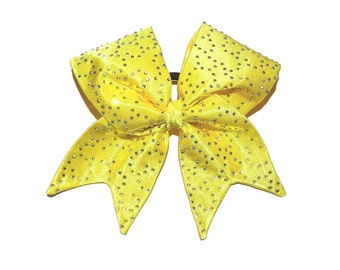 Yellow cheer bow tick tock, all star cheer bow, fabric bling hair bow satin bow