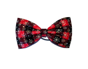 Holiday plaid Christmas cheer bow, all star cheer bow, tailless cheer bow, tuxedo bow, red black bow