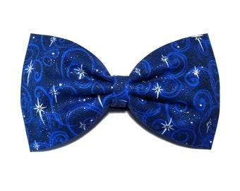 Holiday star Christmas cheer bow, all star cheer bow, tailless cheer bow, tuxedo bow, blue bow