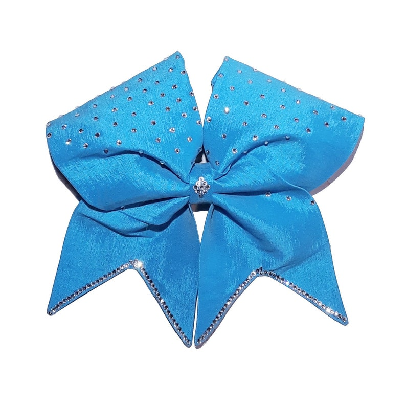 fabric bling hair bow satin bow all star cheer bow Turquoise blue cheer bow tick tock