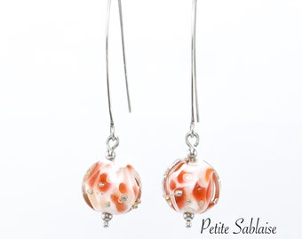 """""""Peach of the Orchard"""" earrings made of Murano Glass and Solid Silver, made by an Artisan Verrier"""