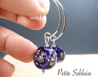 Amethyst Violette earrings in Murano Glass and Solid Silver, made by an Artisan Verrier