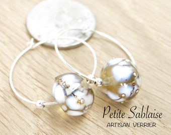 Golden Champagne Creole earrings in Murano Glass and Solid Silver, made by an Artisan Verrier