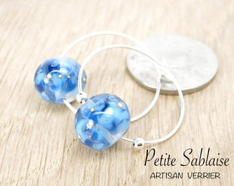 Blue Creole earrings in Murano glass and solid silver, made by an Artisan Verrier